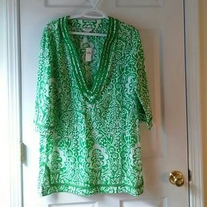BR Green Cotton Tunic Med Nwt